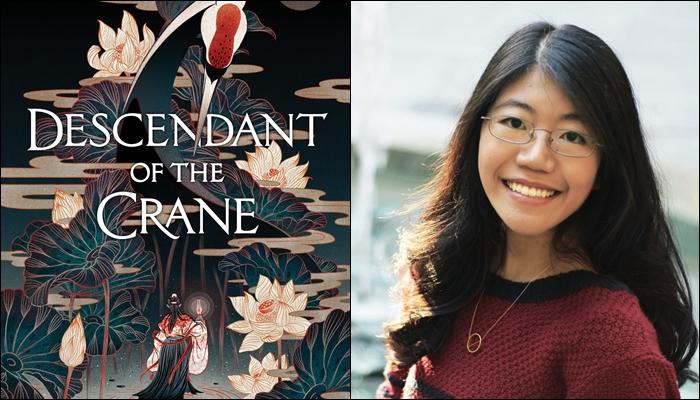 Portada de Descendant of the Crane y su autora, Joan He.