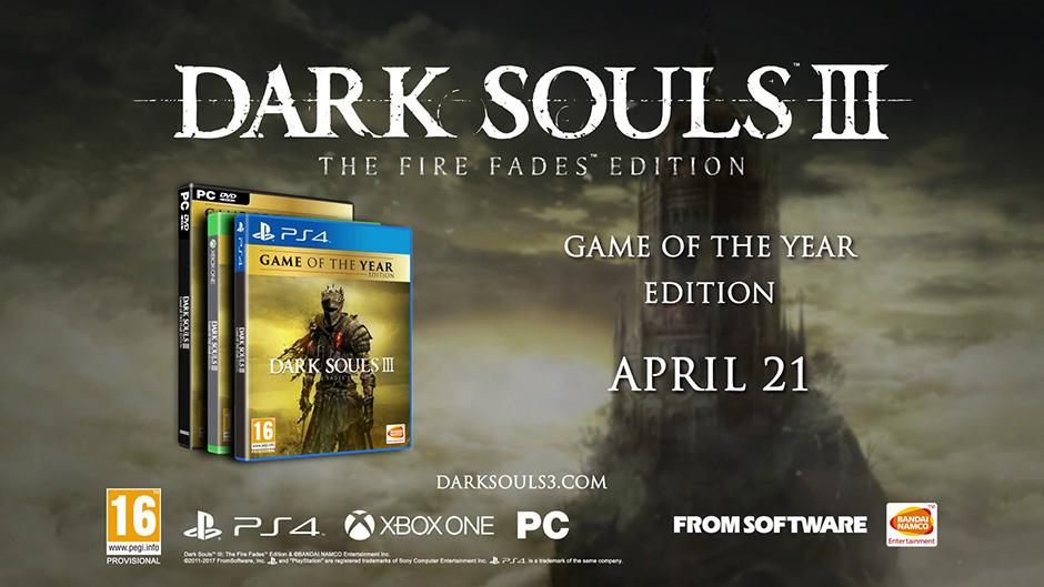 Dark Souls III: The Fires Fade edition sale el 21 de abril y contendrá el juegos y sus dos expansiones.